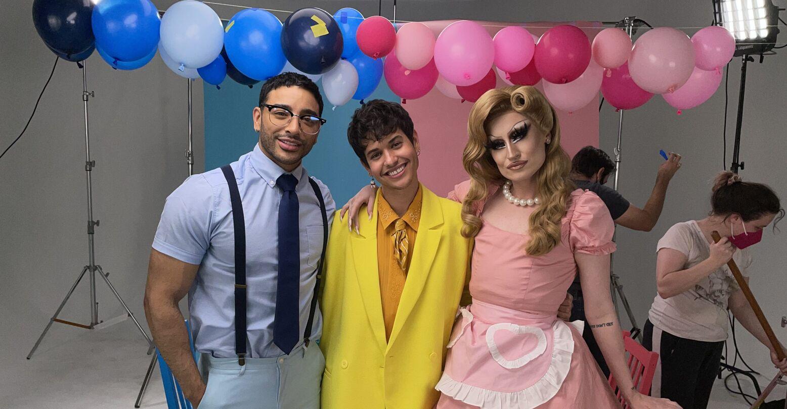 "Laith Ashley, Ezra Michel and Gottmik on the set of ""Girl Baby."""