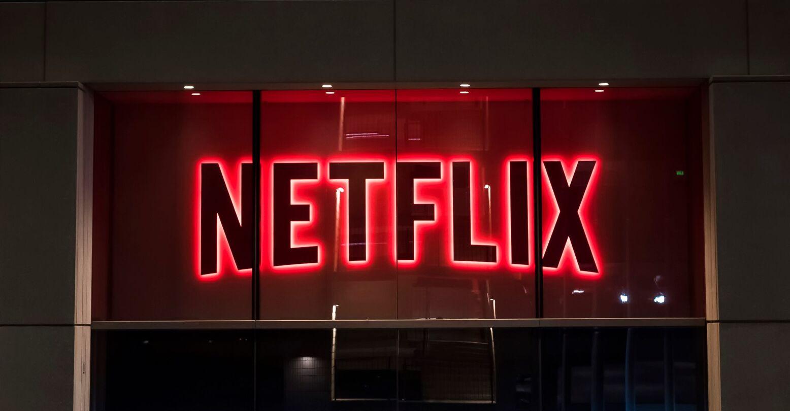 Netflix logo on building